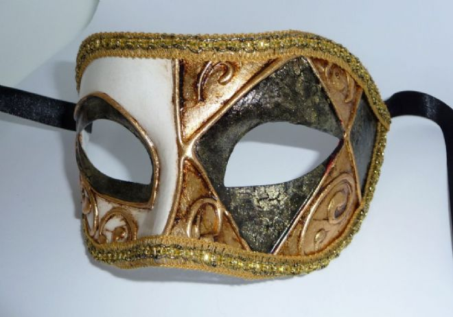 Genuine Venetian Exclusive Crackle Half Mask  (1)